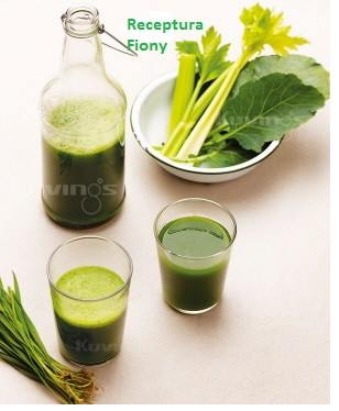 Zielony sok fiony z wyciskarki Kuvings whole slow juicer